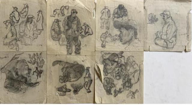 1953년 1월 7일부터 19일 사이에 그려진 포로수용소 연필 스케치. 배급식량의 종이 라벨을 재활용해 그린 것으로, 같은 날짜끼리 배열되어 있다.