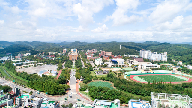 경남 대표 거점국립대학인 경상대학교 가좌캠퍼스 전경.