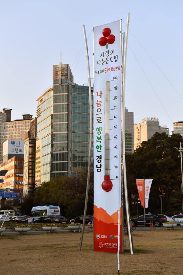 2일 창원시청 앞 광장에 설치된 경남 사랑의 온도탑. 경남 사랑의 온도탑은 오는 2020년 1월 31일까지 총 73일간 92억6000만원을 모으는 것이 목표다. 목표 기부액 1%가 달성될 때 온도는 1도씩 오른다./전강용 기자/
