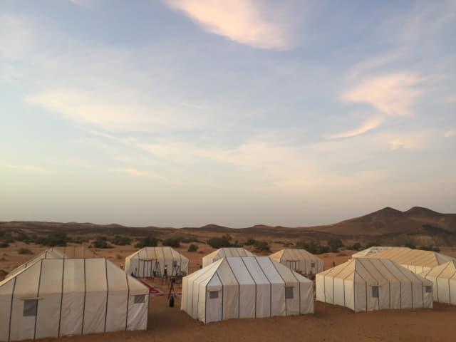 사막 모래 위 캠핑장에서 맞는 사하라의 아침.