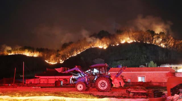 19일 오후 울산시 울주군에서 발생한 산불이 바람을 타고 번지면서 청량읍 삼정마을 인근 야산에까지 불길이 치솟고 있다. 연합뉴스