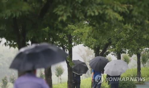 울산에 비가 내린 10일 오후 중구 태화강 국가정원 근처에서 시민이 우산을 쓰고 있다. [연합뉴스 자료사진]