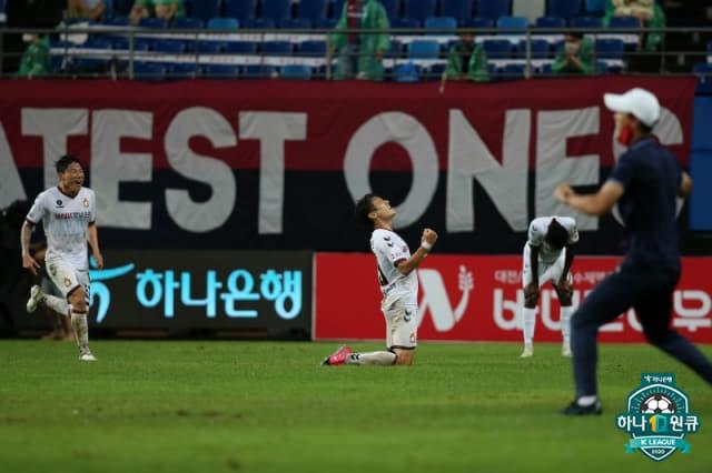 지난 8일 대전과의 경기에서 역전 결승골을 터트리고 기뻐하는 경남FC./한국프로축구연맹/