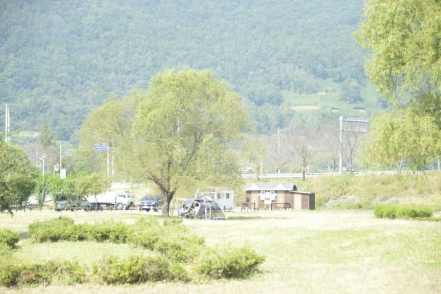 창녕학포수변생태공원에서 텐트를 치고 망중한을 즐기고 있는 가족들.