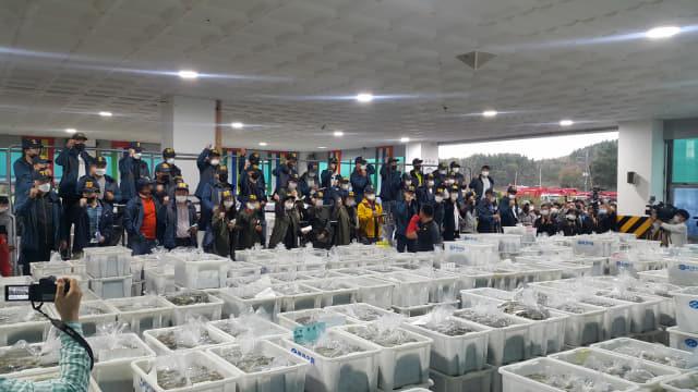 22일 첫 경매가 시작된 굴수협 위판장에서 중매인들이 좋은 굴을 확보하기 위해 경매사의 호령에 따라 바쁜 손놀림을 보이고 있다. /김성호/