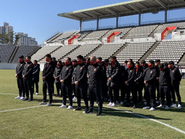 경남FC가 19일 2021시즌 개막을 앞두고 승리 기원제를 지내고 있다