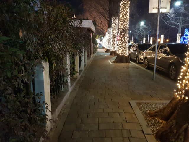 지난 19일 밤 10시께 창원 가로수길 카페거리. 지나가는 사람이 전혀 없는 모습이다.
