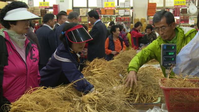 인삼축제에서 6년근 인삼을 고르고 있는 관광객들./강화인삼조합 /