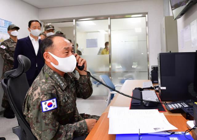해작사, 부석종 해군참모총장 코로나 점검 방문