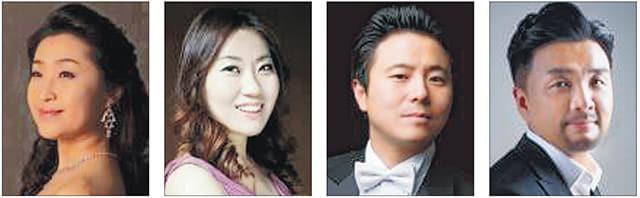 왼쪽부터 소프라노 이세진, 메조 소프라노 이은선, 테너 신현욱, 테너 김정권.