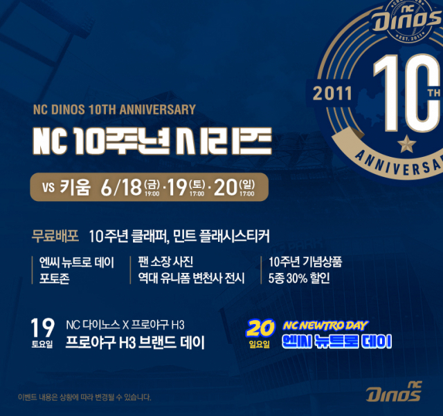 NC 다이노스가 18~20일 키움과 갖는 주말 홈 경기 'NC 10주년' 시리즈 포스터./NC 제공/
