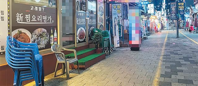 지난달 31일 김해시가 사회적 거리두기 4단계 시행 후 맞은 첫 주말. 김해시 내외동 먹자골목 거리가 한산하다.